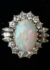 Vintage 18k White Gold Opal Diamond Ring Estate Jewelry Ladies Large Size 6.5