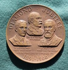 1891-1966 DIAMOND JUBILEE AMERICAN NUMISMATIC ASSOC 3 INCH BZ  MEDAL BY GASPARRO