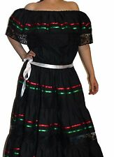 TRICOLOR PEASANT MEXICAN LACE DRESS OFF SHOULDER CINCO DE MAYO COSTUME ONE SIZE