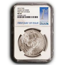 2015 P NGC MS69 First Day of Issue March of Dimes Silver Dollar Coin