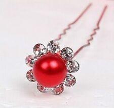 Accessoire mariage, bijou de cheveux ,épingle à chignons perle rouge et strass