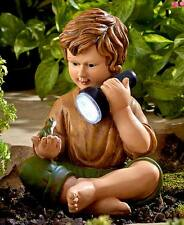 The Lakeside Collection Solar Children Statues - Boy with Frog