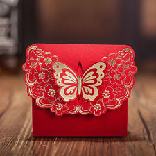 10X Red Butterfly Lock Wedding Party Favours Sweets Boxes Bags Table Decoration