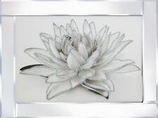 WHITE SPARKLY FLOWER PICTURE GLITTER IN MIRRORED FRAME, GLITTER ART PICTURE