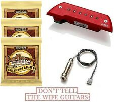 EMG ACS Red Acoustic Active Soundhole Pickup ( 3 ERNIE BALL #2003 STRING SETS )