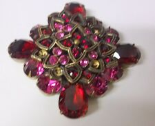 Vintage Signed R.J. Graziano Gorgeous Large Rasberry Red Rhinestone Pin Brooch