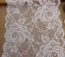 "10.25"" Wide Lovely Floral Stretch Lace Ivory y0328"