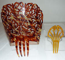 Lot of 2 Vintage Hair Combs - Tortoise Mantilla and Amber Rhinestone Comb