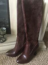 Cole Haan Julian Tall Boots  Brown Leather Suede Knee High Heels Sz 9 NEW