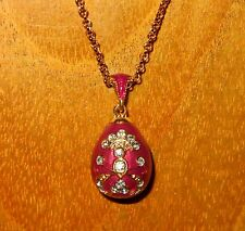 Russian FABERGE inspired Light Lilac ENAMEL Swarovsky Crystals Motif EGG pendant