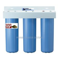 "TRIPLE BIG BLUE 20'' WATER FILTER SYSTEM 1"" Sediment/Carbon block/KDF85-GAC"