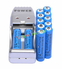 12X AAA 3A 1800mah1.2V NiMH rechargeable batterie  Bleu +USB Chargeur
