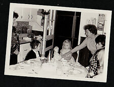 Vintage Photograph Little Girl At Table With Doll At Birthday Party - Cake