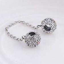 DAISIES SAFETY CHAIN 925 Sterling Silver Solid Safety Chain Charm Bead Bracelet