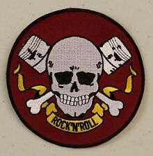 ROCK N ROLL SKULL & PISTONS SEW - IRON ON PATCH NEW