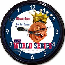 Milwaukee Braves 1957 World Series Program Hank Aaron Wall Clock Baseball MLB