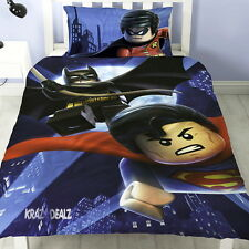 Lego Batman Superman Battle Single Panel Duvet Cover Bed Set 2 in 1 Reversible