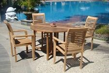 """Sam Grade-A Teak 5 pc Dining 48"""" Round Butterfly Table 4 Stacking Arm Chair Set"""