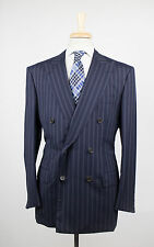 New D'AVENZA Navy Blue Striped Wool Blend Double Breasted Suit Size 52/42R $3995