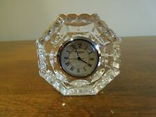 Vintage Small Waterford Crystal Tabletop Quartz Clock W/ Roman Numeral Numbers