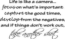 LIFE IS LIKE A CAMERA Vinyl Lettering Words Wall Art Quote Sticky Decals Decor