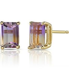 14K Yellow Gold Emerald Cut 2.00 Carats Ametrine Stud Earrings