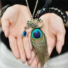 Fashion Twinkling Crystal Rhinestone Peacock Feather Pendant Long Chain Necklace