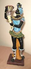 LARGE antique handmade terracotta pottery Blackamoor majolica statue sculpture