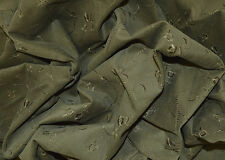 "VINTAGE FLORAL EMBROIDERY ON OLIVE GREEN CORD CORDUROY FABRIC 16 WALE 56"" WIDTH"
