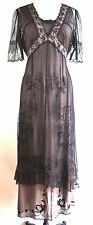 NATAYA SALE!!!Black/Coco Long Formal Dress Steampunk Gatsby Vintage look Lace XL