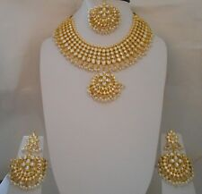 GoldTone Kundan Pearl Necklace Earring Indian Bollywood Jewelry Set Bridal S35