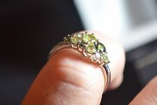 Brand new 9ct white gold Green amethyst tormaline peridot ring size N