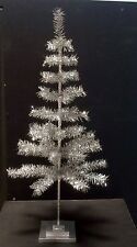 Retro Style Christmas/Holiday Aluminum Look Silver Tinsel Feather  Tree 36""