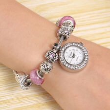 Women Quartz Charms Beads Shell Pendant Bracelet Round Dial Wrist Bangle Watch