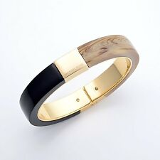 NWT❤️ Michael Kors $115 Color Block PVD GOLD PLATED BANGLE Black/Brown MK5264710