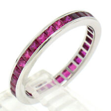 Solid .950 Platinum 1.6ctw Channel Set Princess Cut Ruby Eternity Band Ring Sz 6