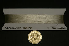 REAL SILVER THREAD, JAPANESE, 50 METRES, FOR EMBROIDERY, GOLDWORK AND WEAVING