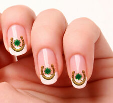 20 Nail Art Decals Transfers Stickers #252  - Lucky Horse Shoe & 4 Leaf Clover