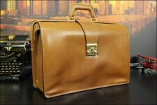 SALVATORE FERRAGMO Italy Tan Brown Leather Lawyer Doctor Briefcase Bag  $1685
