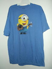 NEW 2XL DISPICABLE ME ADULT T SHIRT MINIONS PLAYING GUITAR