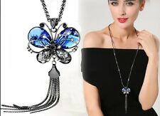 Fashion Women Crystal Statement Collar Bib Long Chain Pendant Necklace Butterfly