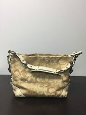 COACH Optic Signature Carly Khaki Off White Sateen HandBag Purse 13980