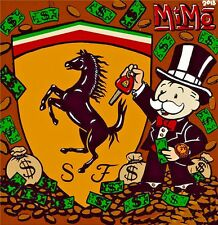 Alec Monopoly Oil Painting on Canvas Urban art wall decor Racing Ferrari 28x28""