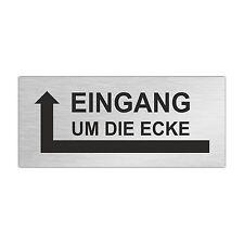 Edelstahl Briefkastenschild EINGANG UM DIE ECKE (Pfeil links) 80 x 35 mm (ZB9)