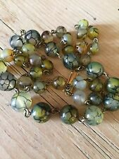 art deco 1930s Vintage Style Dragons Vein Amber Glass bead necklace