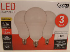 3 Pack LED CANDELABRA BASE small WARM WHITE Feit 60W Equivalent  6W Light Bulbs