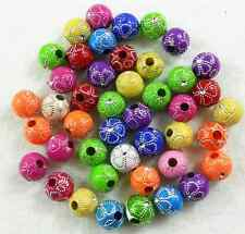 100Pcs 8mm Mixed Color Acrylic Round Spacer Loose Beads Free Ship