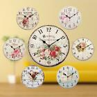 30cm Retro Vintage Flower Large Wooden Digital Wall Clock Home Kitchen Decor