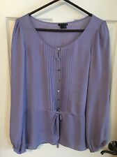 Theory Dusky Purple Silk Blouse Long Sleeves Tie Waist Size Large