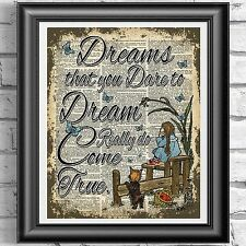 ART PRINT ON ORIGINAL ANTIQUE BOOK PAGE Wizard Of Oz Dorothy Dreams Dictionary